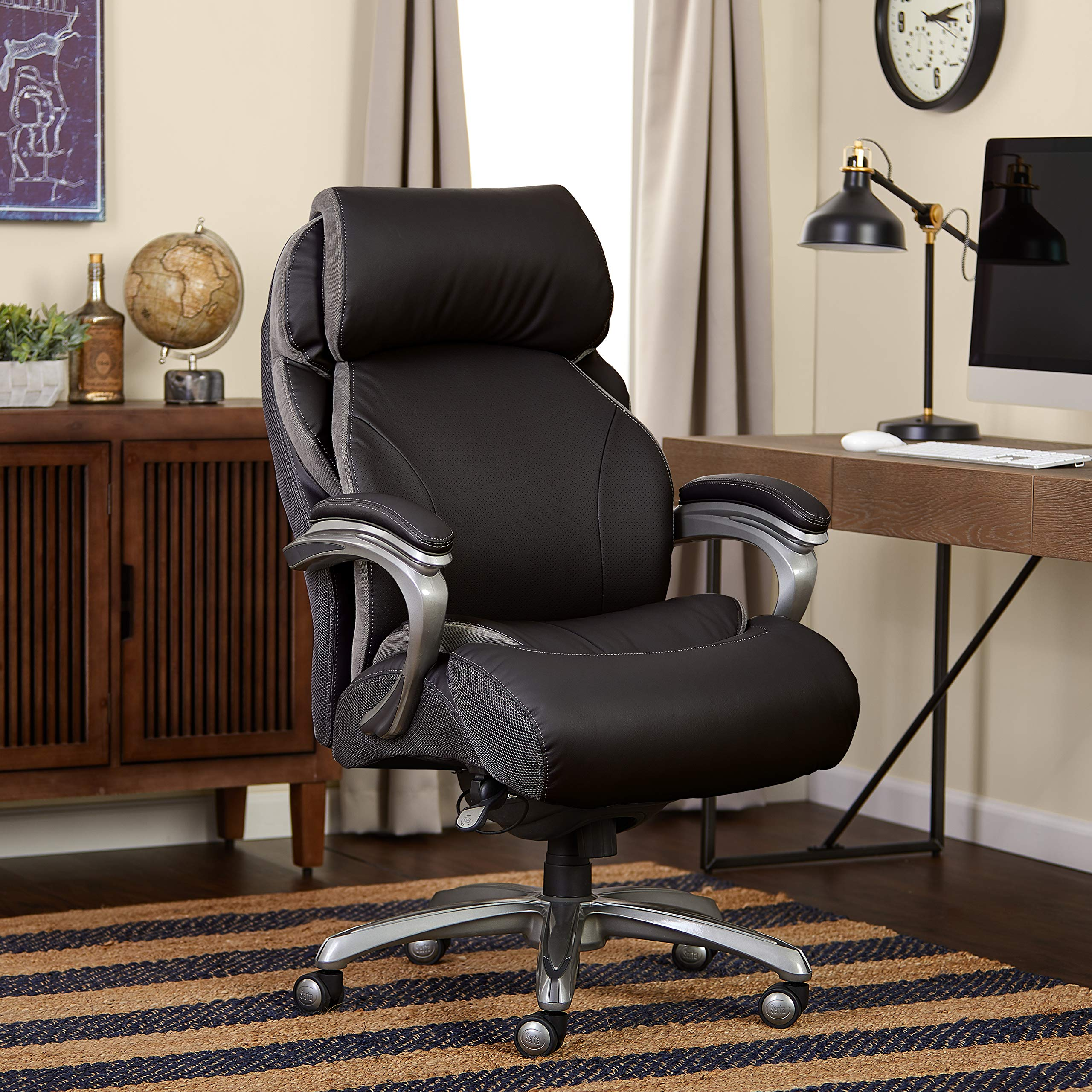 Serta Big and Tall Smart Layers Tranquility Executive Office Chair with AIR Technology, Black by Serta