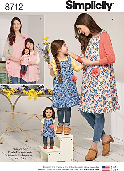 SEWING PATTERN FITS AMERICAN GIRL SALE MAKE MOM~DAUGHTER~DOLL MATCHING APRONS
