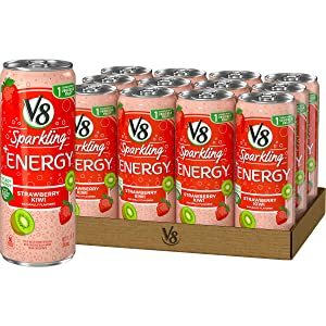V8 Sparkling +Energy, Healthy Energy Drink, Natural Energy from Tea, Strawberry Kiwi, 11.5 Ounce Can (Pack of 12)