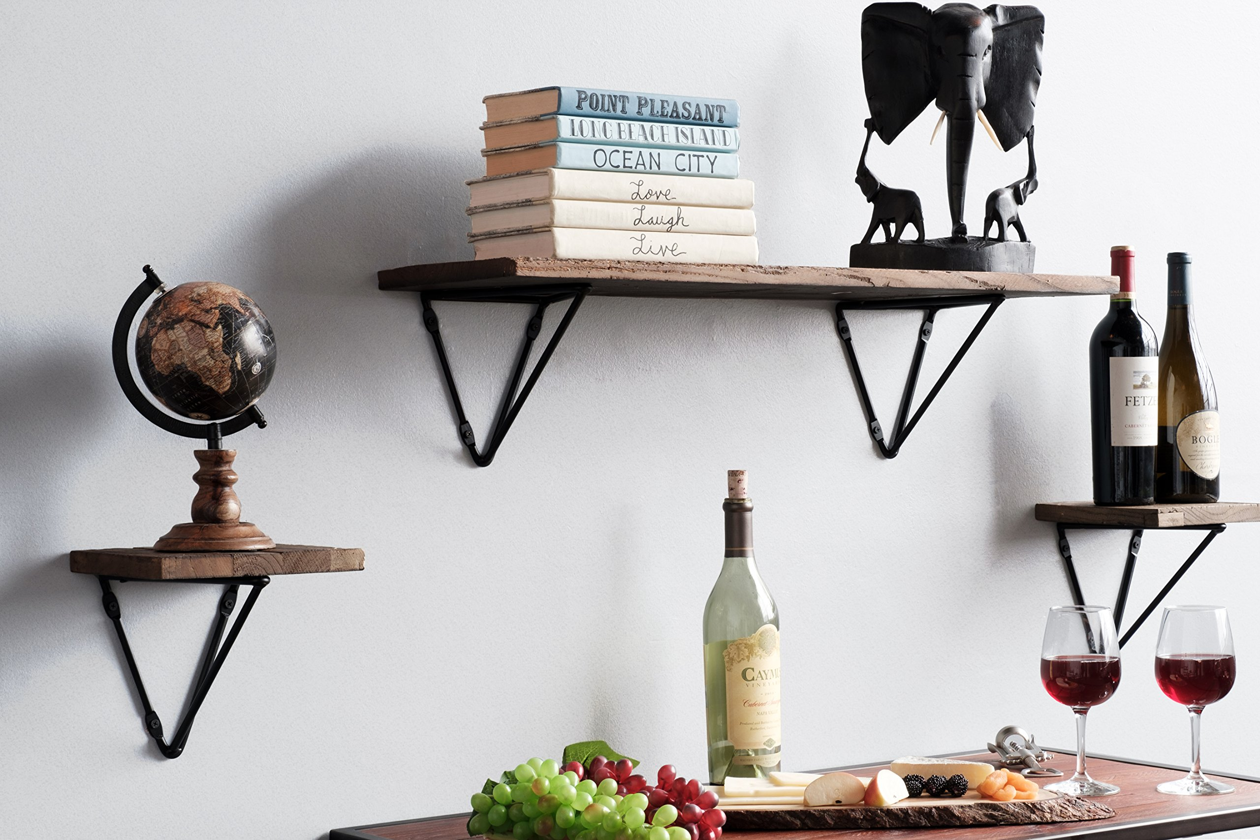 Wallniture Prismo Set of 2 Multiuse Wall Mount Triangle Shelf Brackets for Floating Shelves - DIY Shelving Brackets Geometric Design - Iron - Easy Installation: With this set of 2 brackets, you can create a floating wall shelf, storage solution and so much more. These brackets are simple to install and comes with strong metal anchors for a sturdier construction on any wall material, including drywall. Custom Size Done Right: Each bracket for shelf is 10.50 x 8.50 x 7.50 x 6 inches and the heavy-duty iron material is perfect for creating a variety of home decor, storage and organization products built to specifically fit your needs. Rustic Home Decor: Add a touch of rustic style and industrial flair to your living room, dining room, kitchen, bathroom, entryway, home office, bedroom or even nursery as bookshelves. These brackets blend beautifully with any room and design. - wall-shelves, living-room-furniture, living-room - 918nWRIwQ6L -