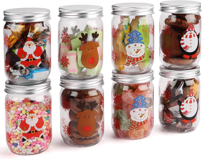 BELLE VOUS Botes de Navidad para Golosinas (Pack de 8) Tarros de Plástico para Chuches 260ml - Decoración de Navidad Botes con Tema de Navidad 4 Diseños para Galletas, Dulces, Regalo para Niños