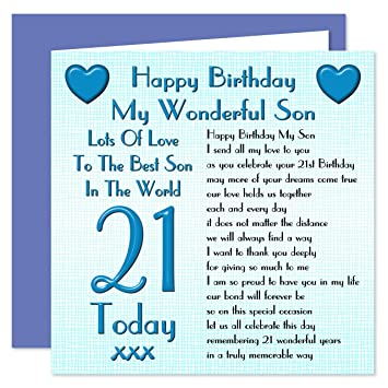 Son 21st Happy Birthday Card
