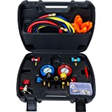 Lichamp 4 Valve AC Manifold Guage Set, Fits R134A R410A R404A R22 Refrigerants, Works on Freon Charging and Vacuum Pump Evacuation, AC Complete Tool Kit