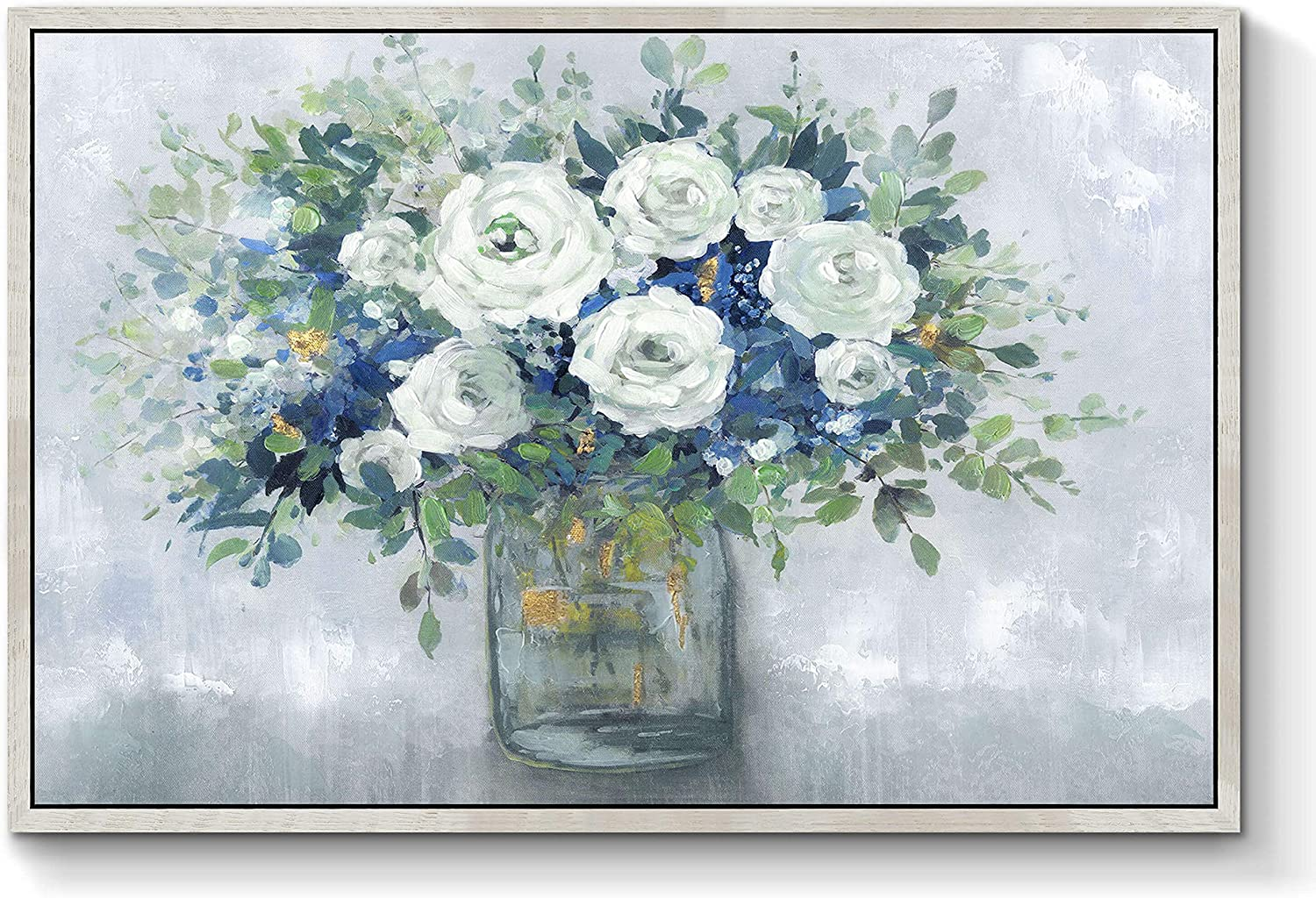 TAR TAR STUDIO Flower Canvas Wall Art Framed: Abstract Floral Bouquet in Glass Vase Artwork Painting for Bedroom (36''W x 24''H, MultipleSizes)