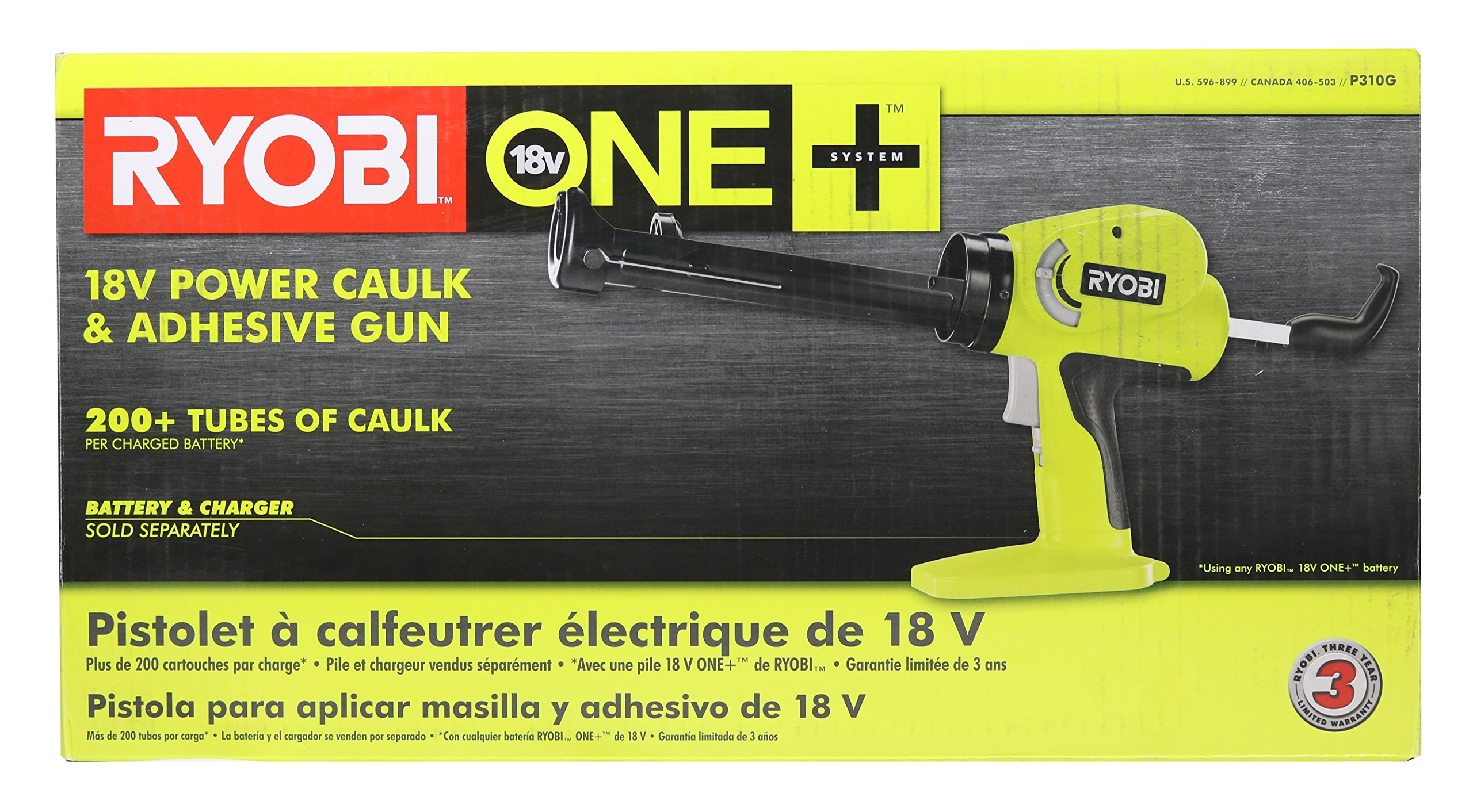 Ryobi P310G 18v Pistol Grip Variable Discharge Rate Power Caulk and Adhesive Gun (Tool Only, Holds 10 Ounce Carriage) by Ryobi (Image #8)