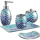 WHOLE HOUSEWARES 5-Pieces Mosaic Glass Bathroom Accessories Set, Soap Dispenser, Tray/Soap Dish (Blue)