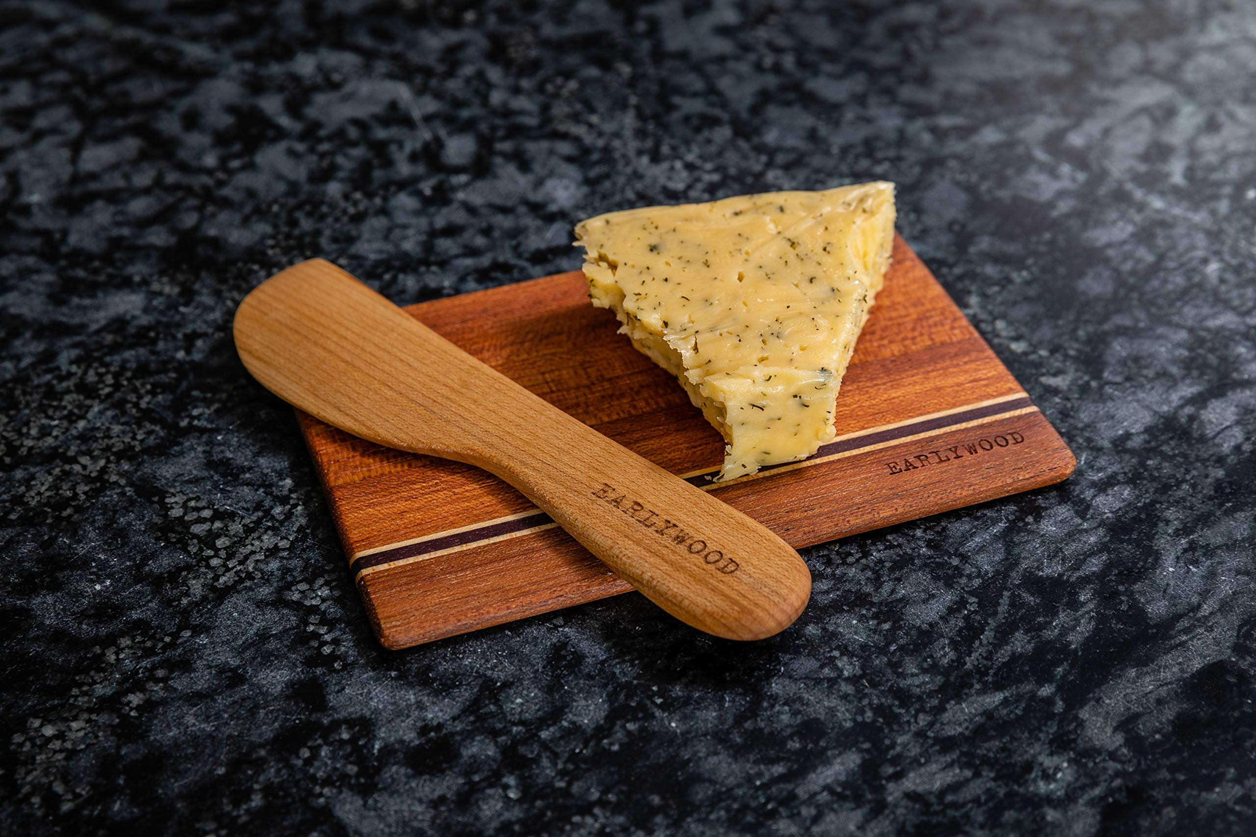 Small Wood Cutting Board Set. Set of 4 mini wooden cutting boards. Light and thin wood serving boards for wood cheese boards, spoon rests, trivets, wood serving set or bar cutting board set. The best! by Earlywood (Image #10)
