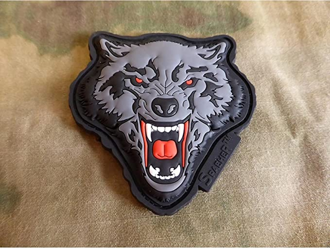 JTG 3D Patch Angry Wolf Head Rouge//gris