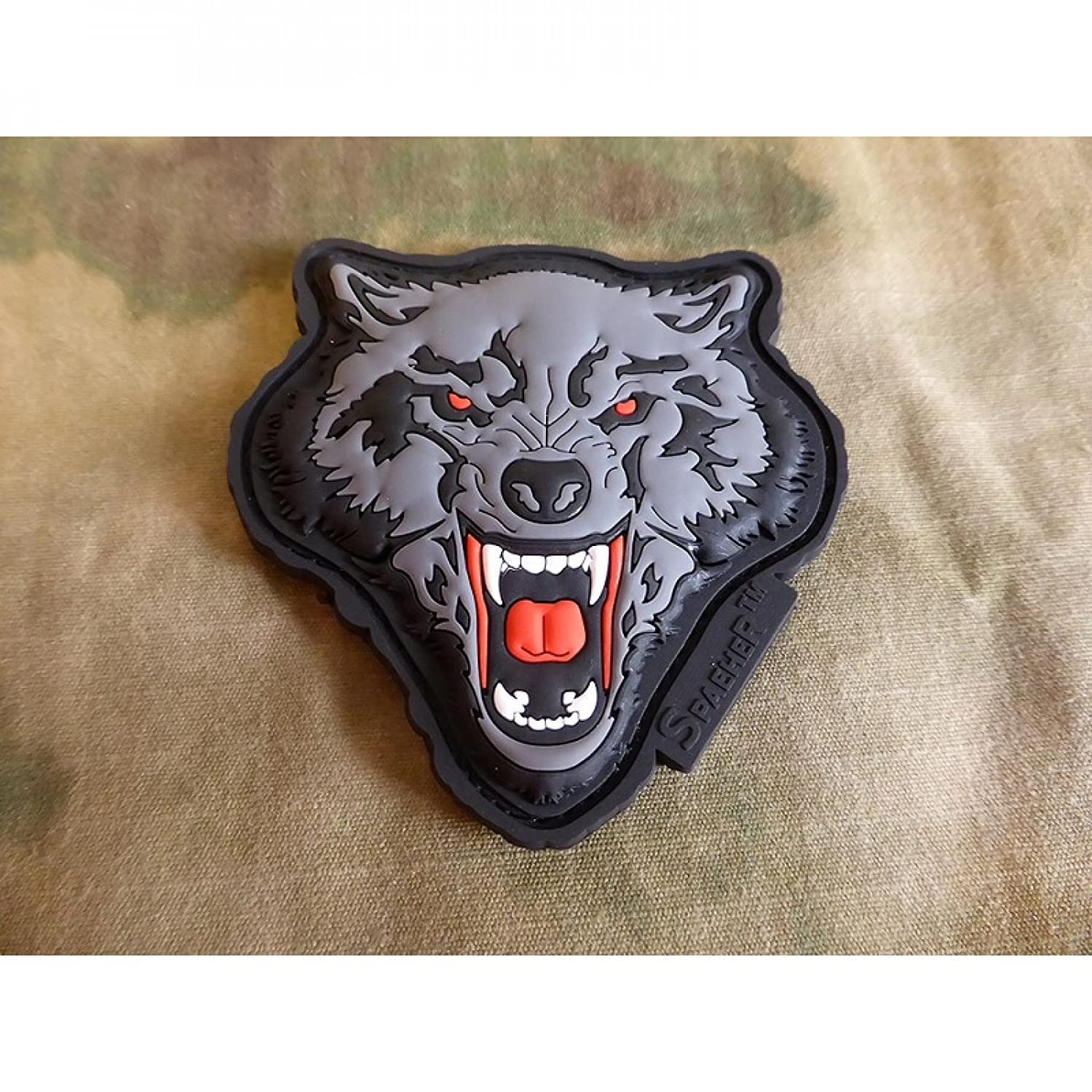 jtg Angry Wolf Head Patch, color rojo y gris Jackets To Go