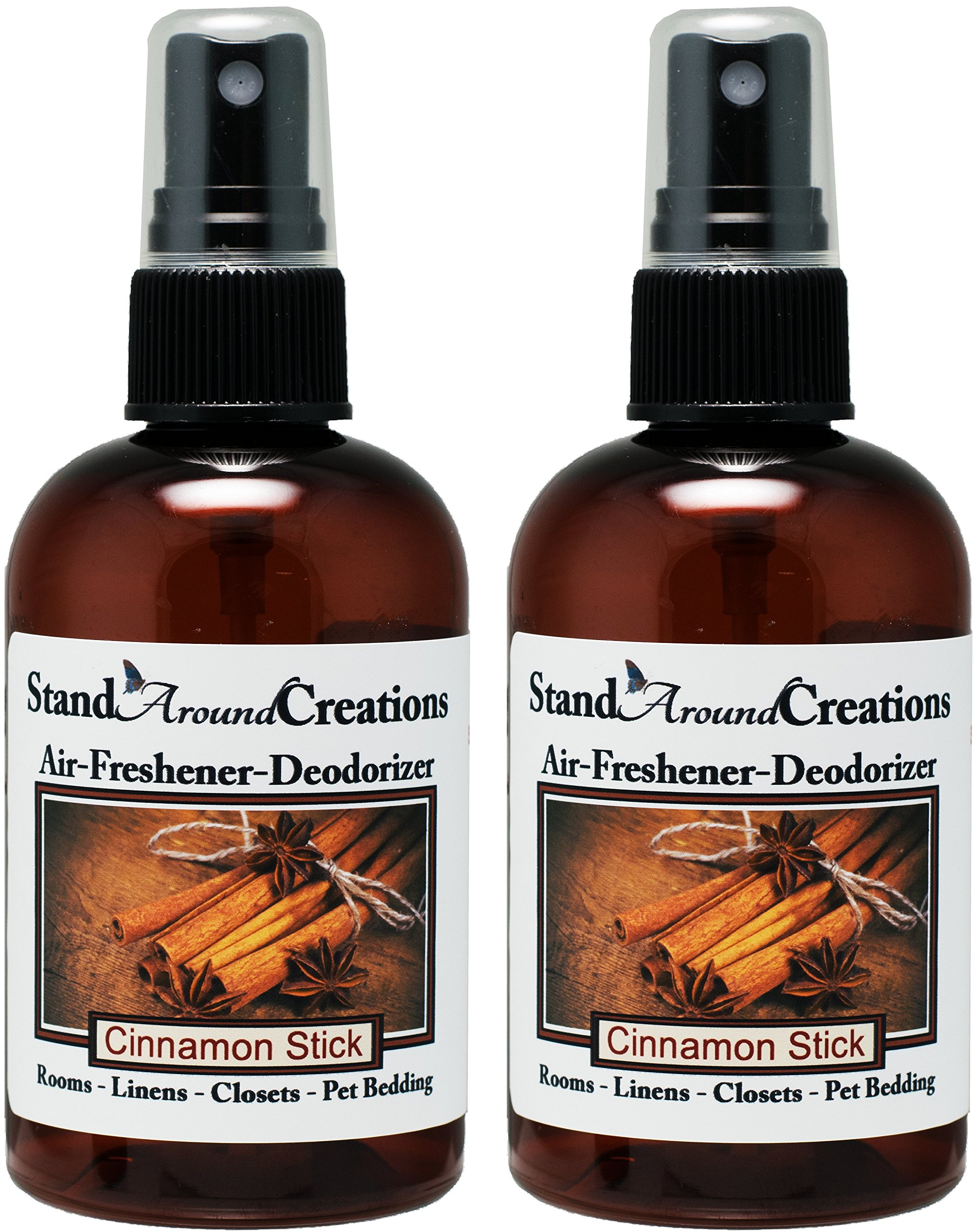 Set of 2-4-oz.-Concentrated Spray Air-Freshener/Deodorizer - Cinnamon Stick - Great for: Cars, Offices, Closets, Air-Conditioners, Pet Beds, Yoga Mats, Litter Boxes, laundry rooms & smoke odors by Stand Around Creations