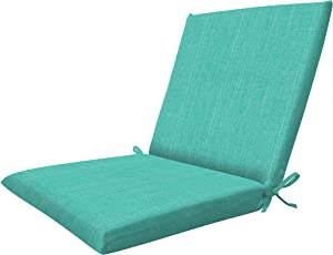 Honeycomb Indoor/Outdoor Textured Solid Surf Aqua Midback Dining Chair Cushion: Recycled Polyester Fill, Weather Resistant Patio Cushions: 19