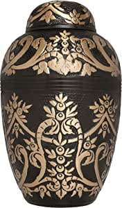 Liliane Memorials Brown Funeral Cremation Urn with an Egyptian Gold Design Forets Model in Brass for Human Ashes; Suitable for Cemetery Burial; Fits Remains of Adults up to 200 lbs, Large,