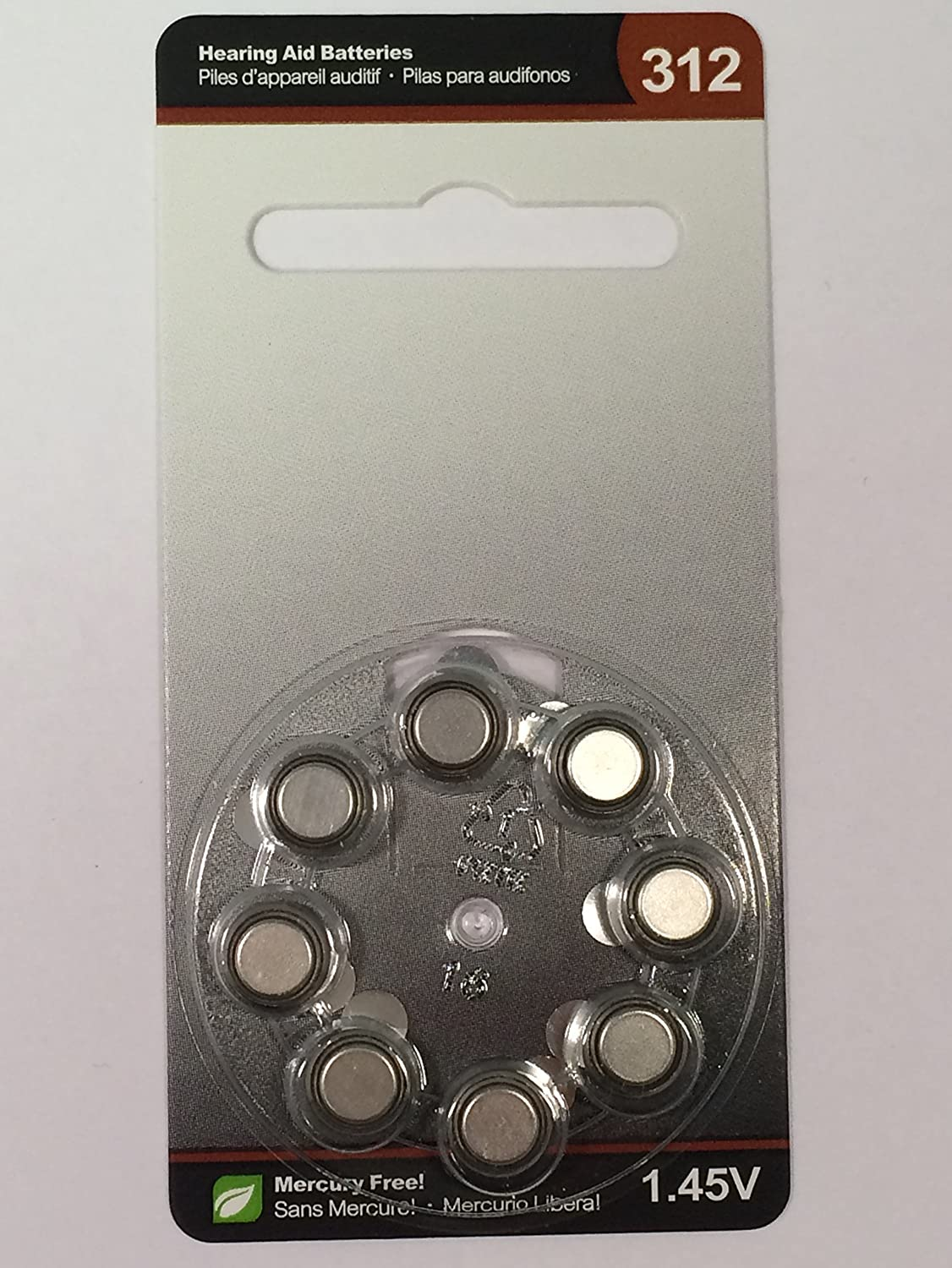 ReSound SIZE 312 Premium Hearing Aid Batteries: Brown Tab: 40 Pack (5  Cards) : Mercury Free, Size 312
