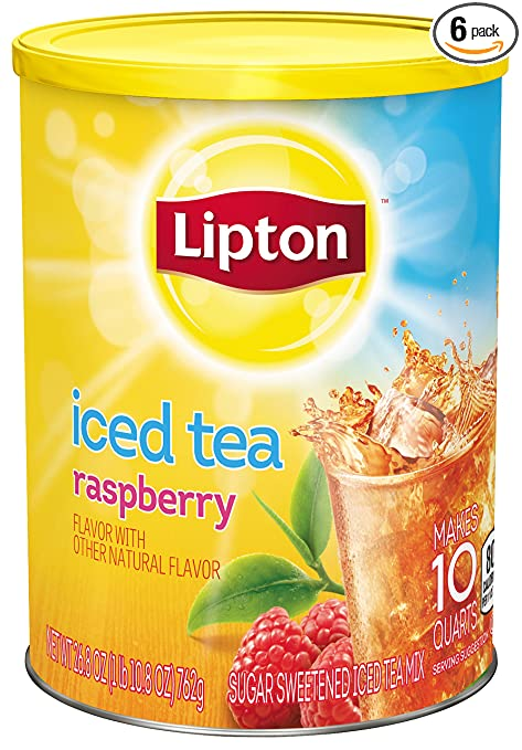 Lipton Iced Tea Mix, Raspberry 10 qt (Pack of 6)