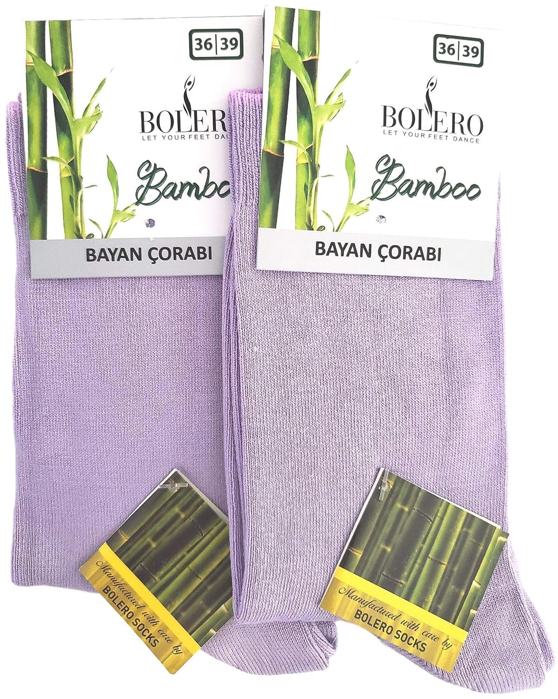 (2 Pairs) purplec Soft Bamboo Casual Crew Socks Made From Luxurious Turkish Antibacterial Bamboo Yarn