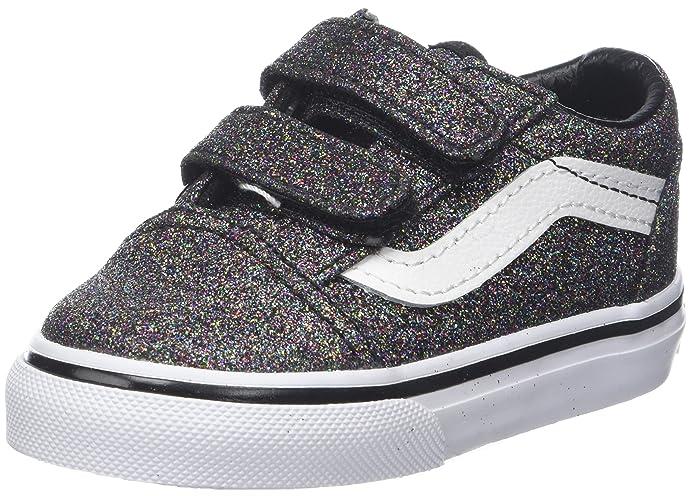 Vans Unisex Baby Old Skool V Sneaker Schwarz Glitter
