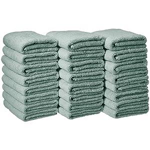 AmazonBasics Cotton Hand Towel - 24-Pack, Seafoam Green