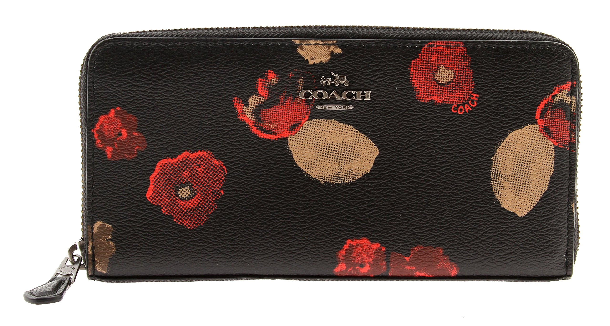 Coach Crossgrain Leather Cherry Blossom Floral Accordion Zip Wallet, F55950 QB/M2