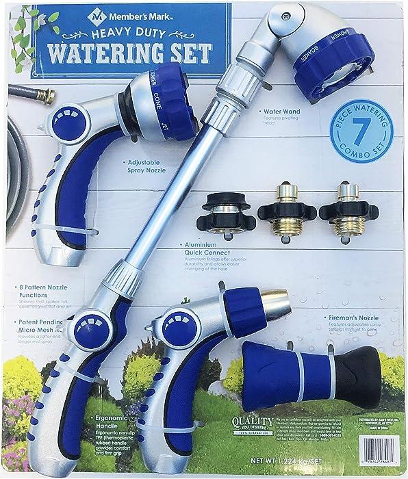 Member Mark Heavy Duty 7 Piece Watering Combo Set-Nozzles Wand Gardening