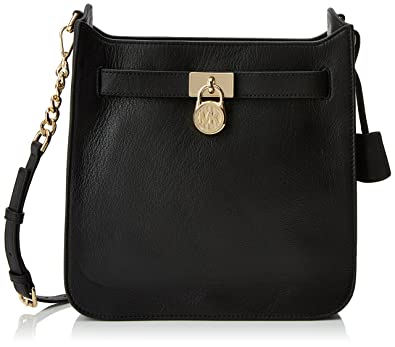 4e5273e0d455 Amazon.com: Michael Kors Hamilton Medium Leather Messenger (Black ...