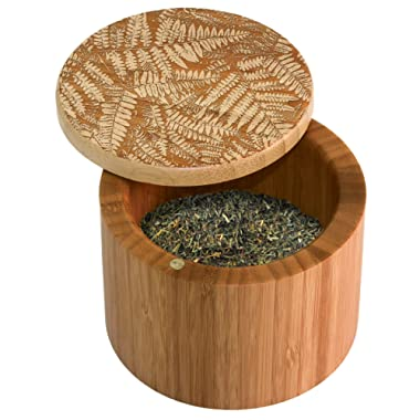 Totally Bamboo Salt Box, Bamboo Storage Box with Magnetic Swivel Lid, Fern  Art Engraved on Lid