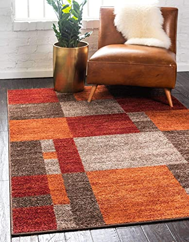 Unique Loom Autumn Collection Checkered Abstract Casual Warm Toned Area Rug 10' 0 x 14' 0