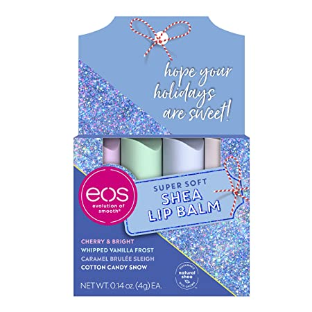 eos Super Soft Shea Lip Balm - Holiday Gift Set Variety Pack | 24 Hour Hydration | Lip Care to Moisturize Dry Lips | Gluten Free | 0.14 oz | 4 Pack