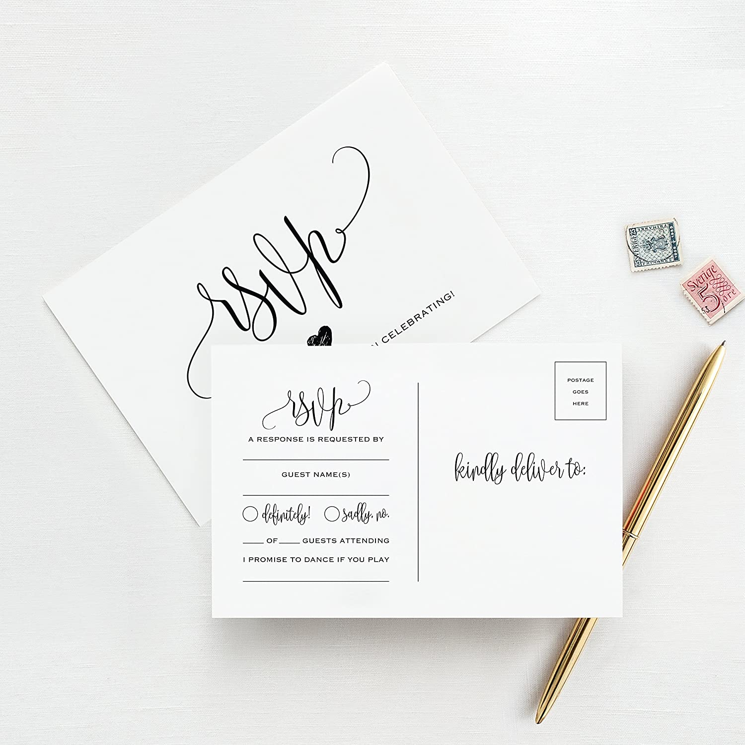 Wedding Response Cards.Rsvp Postcards For Wedding 50 Pack Of Response Cards Reply Cards Perfect For Bridal Shower Rehearsal Dinner Engagement Party Baby Shower Or Any