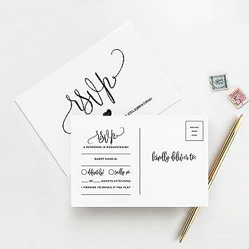 Amazon.com: RSVP - Tarjetas postales para boda, 50 unidades ...