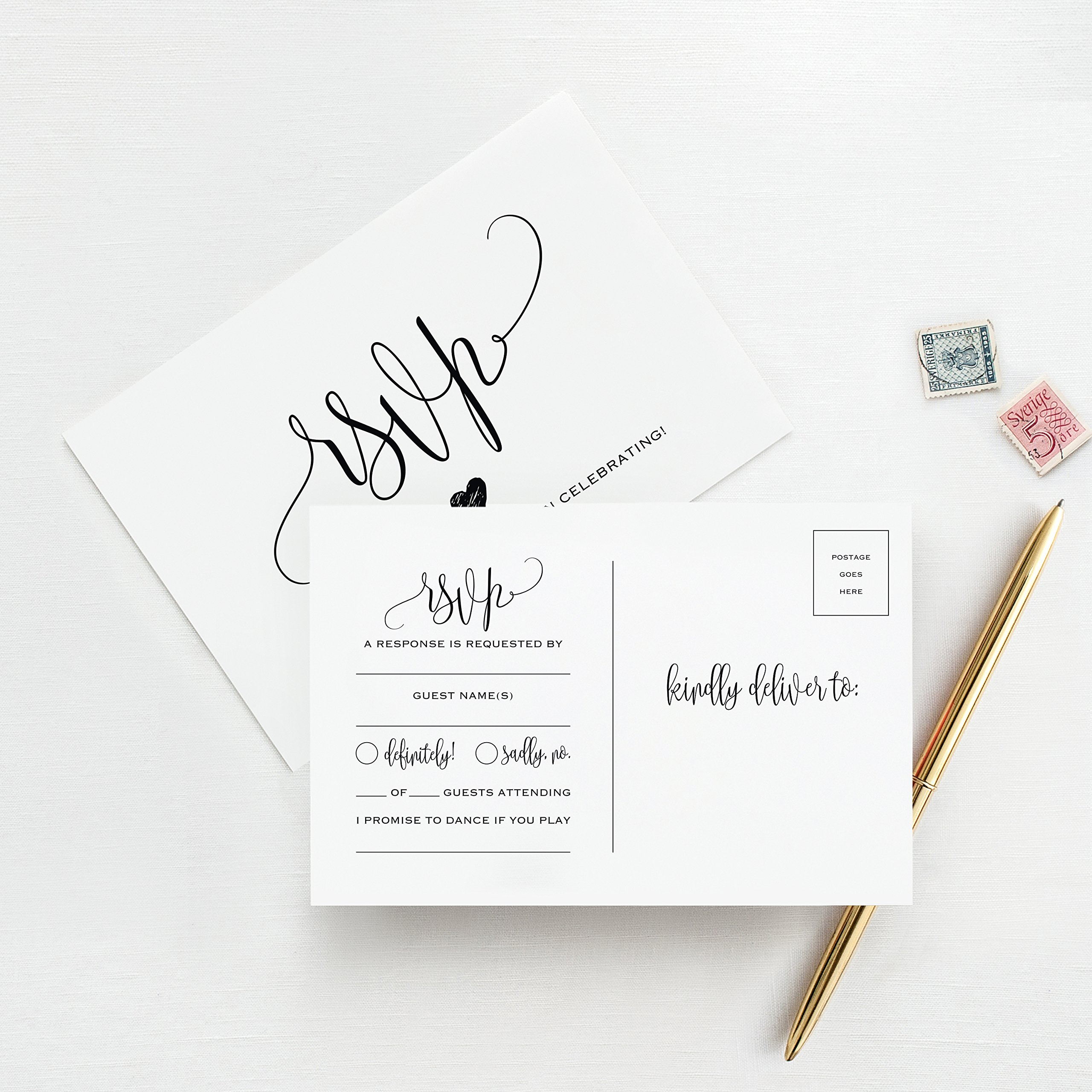 RSVP Postcards for Wedding, 50 Pack of Response Cards, Reply Cards Perfect for Bridal Shower, Rehearsal Dinner, Engagement Party, Baby Shower or Any Special Occasion - from Bliss Paper Boutique