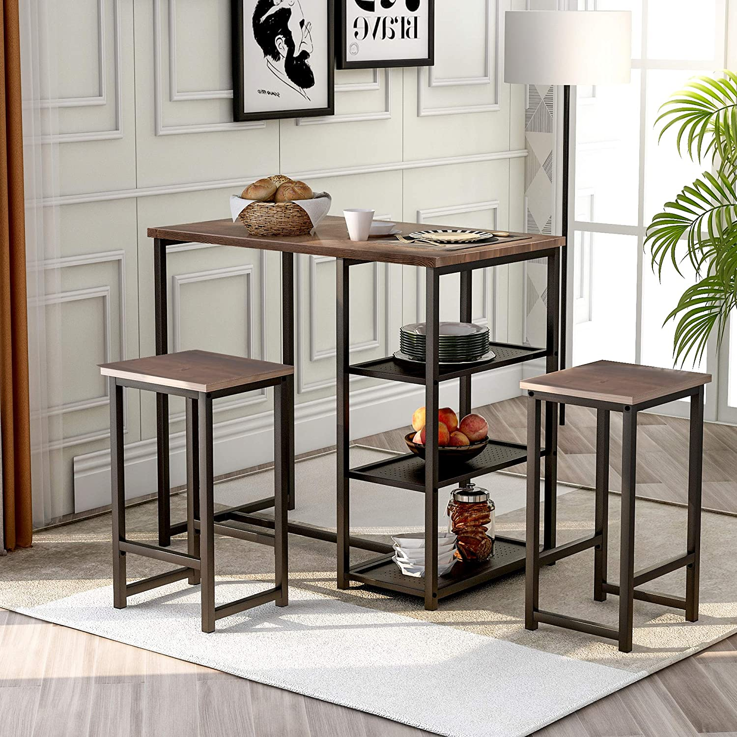 Amazon Com 3 Piece Table Stool Set Counter Height Table With Storage Shelves Table And 2 Stools Home Kitchen Breakfast Table Set Brown And Black Table Chair Sets