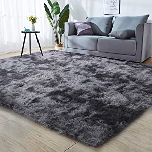 GKLUCKIN Shag Ultra Soft Area Rug, Non-Skid Fluffy 5'X7' Dark Grey Black Fuzzy Indoor Faux Fur Rugs for Living Room Bedroom Nursery Decor Furry Carpet Kids Playroom