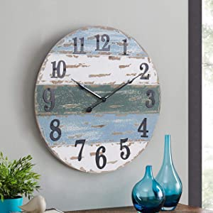 HAWOO 18'' Large Farmhouse Wall Clocks, Handmade Shiplap Wood Beach Theme Coastal Wall Clock, Nautical Decor Kitchen Clock, Rustic Decorative, Vintage Shabby Paint Boards ,Blue