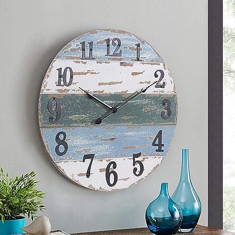 Amazon Com Hawoo 18 Large Farmhouse Wall Clocks Handmade Shiplap Wood Beach Theme Coastal Wall Clock Nautical Decor Kitchen Clock Rustic Decorative Vintage Shabby Paint Boards Blue Kitchen Dining