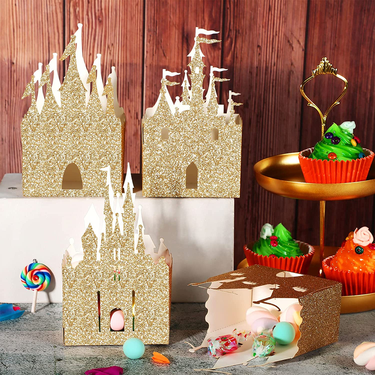 20 Pieces Princess Box Party Supplies Glitter Princess Party Box Castle Candy Box Gold Castle Party Favor Box Glitter Party Favor Boxes for Wedding Birthday Party Bridal Baby Shower Decoration