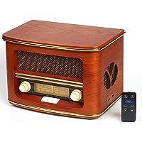 Cyberlux Nostalgie Kompaktanlage   Retro Radio Holz mit CD Player   USB Wiedergabe   Musikanlage Retro Style   Stereoanlage   Fernbedienung   Küchenradio   Vintage Optik   Nostalgieradio  