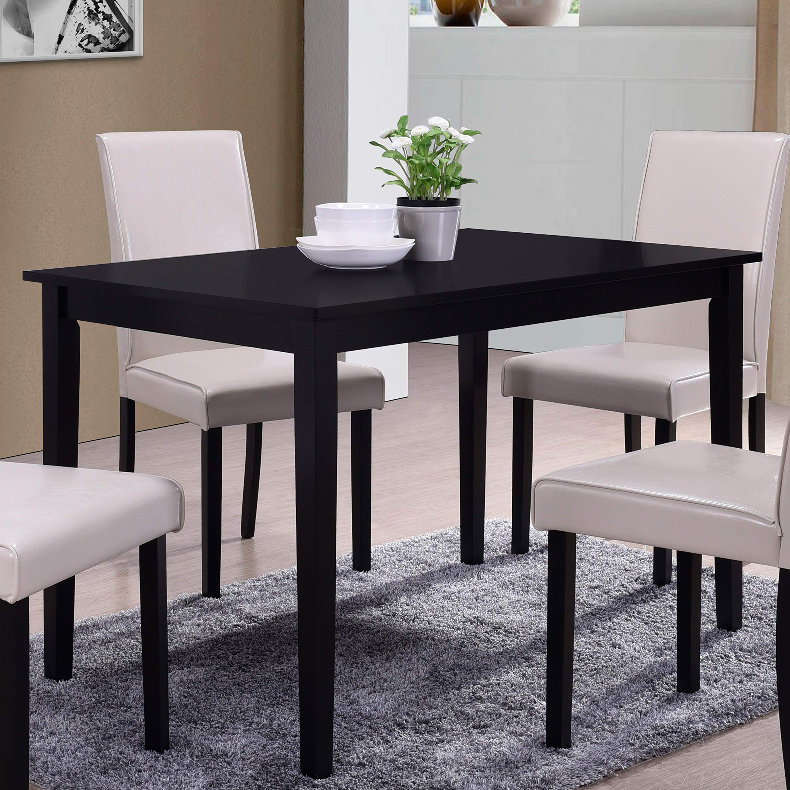 Best Master Furniture WA1200 Melissa Transitional Dining Table Only Black