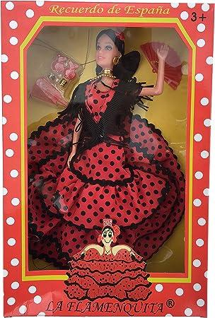 Amazon.es: La Señorita Muñeca Flamenco España Vestido Disfraz Rojo Puntos Negro: Juguetes y juegos