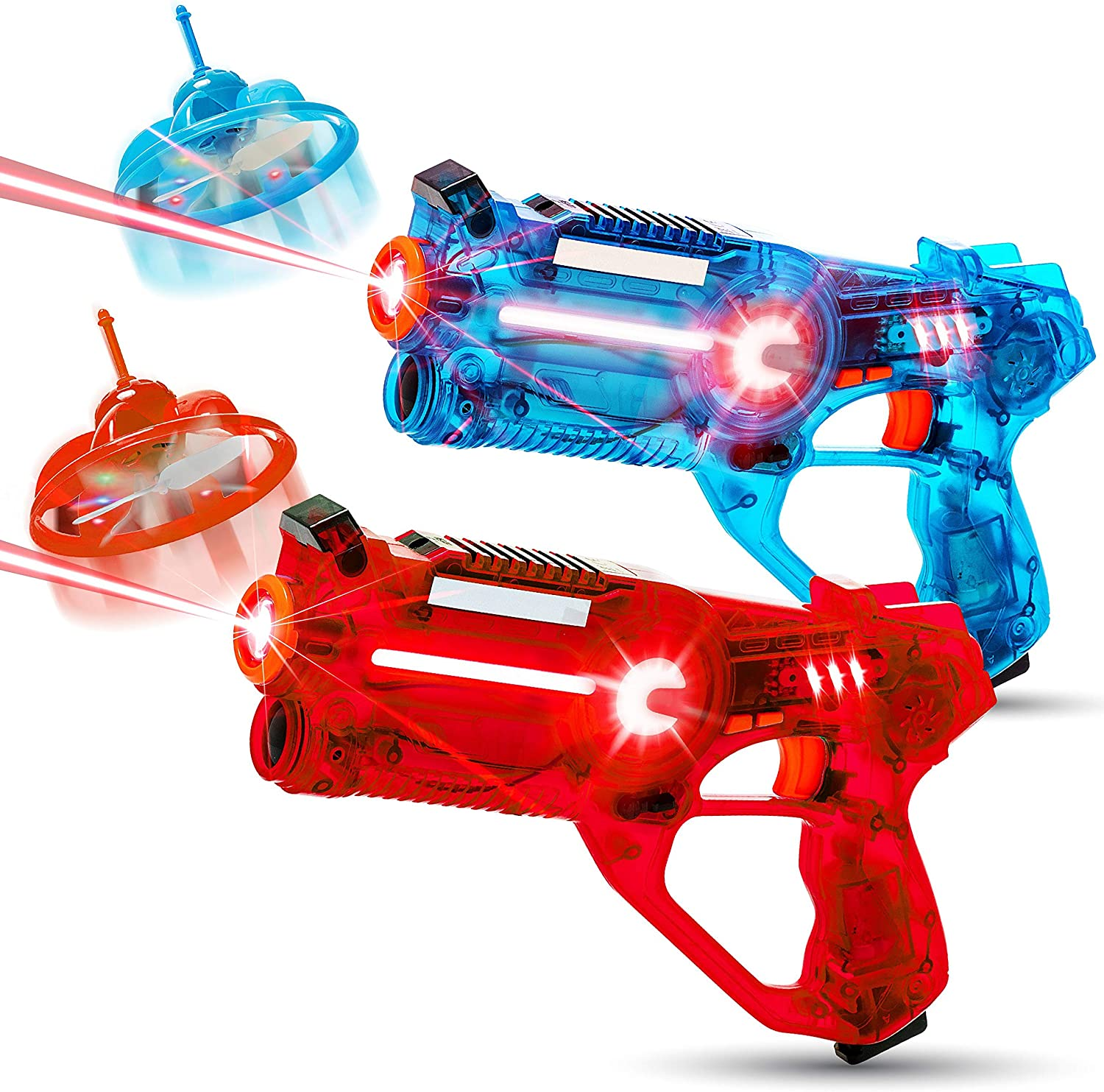 HIPHOPTOY 2-Player Kids Laser Tag Gun Game with Flying Drone Target, 2 Laser Blasters and 2 Wireless Drones, Infrared Shooting Games with LEDs and Sounds, Best Gift for Boys Ages 5, 6, 7, 8, 9, 10