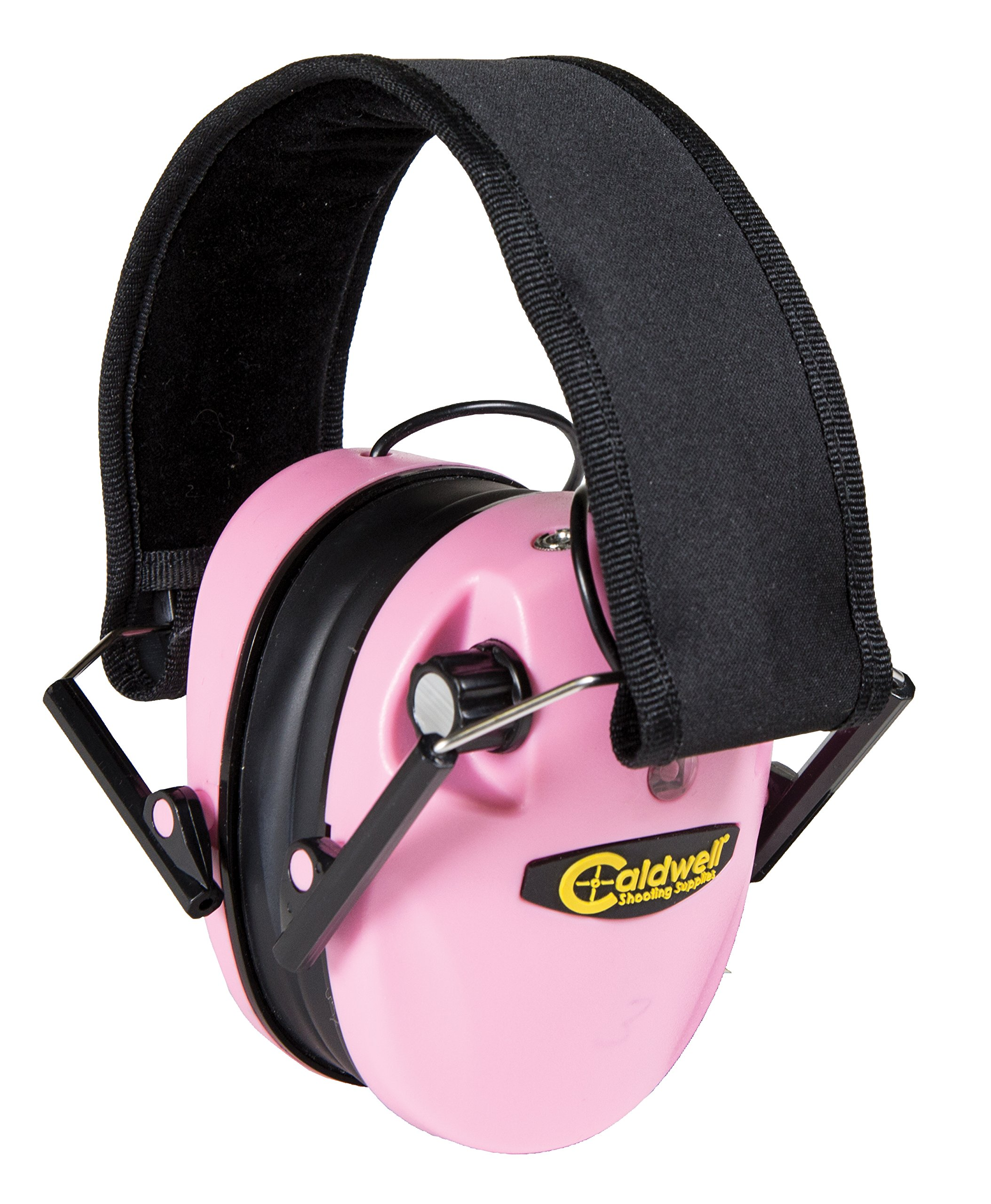 Caldwell E-Max Low Profile Electronic 23 NRR Hearing Protection with Sound Amplification and Adjustable Earmuffs for Shooting, Hunting and Range, Pink by Caldwell