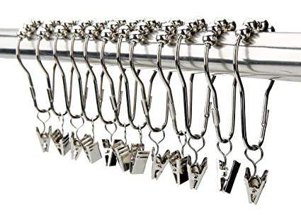 Image Unavailable Not Available For Color VAVC Shower Curtain Hooks Rings With Clips