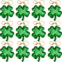 12 Packs Clover Flip Sequin Keychain Glitter Shamrock Four Leaf Lucky Key Chains Reversible Green and Silver Fortune Key…