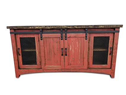 Superieur Rustic Furniture Delivered Hiend 72 Inch Sliding Barn Door Tv Stand  Handscrape Finish No Assembly Required