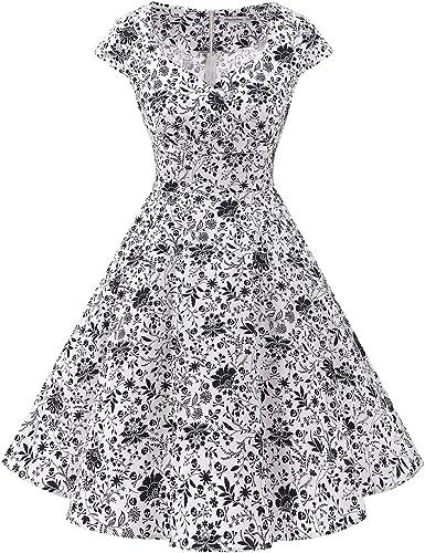 TALLA XL. Bbonlinedress Vestido Corto Mujer Retro Años 50 Vintage Escote White Skull XL