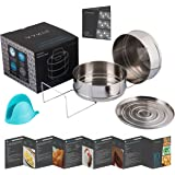 Stackable Instant Pot Accessories - Instapot Accessory Insert Pans Ultra for Vegetable and Meat - 2 Steamer Baskets for Pressure Cooker 5, 6, 8 QT - 100% Stainless Steel - GREAT GlFT