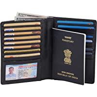 AULIV RFID Blocking Travel Wallet Card Case Passport Wallet in Full Grain Leather