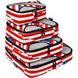 BAGAIL 4 Set Packing Cubes,Travel Luggage Packing Organizers with Laundry Bag (US Flag)