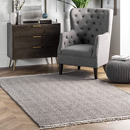 nuLOOM Ashton Simple Wool Tassel Area Rug