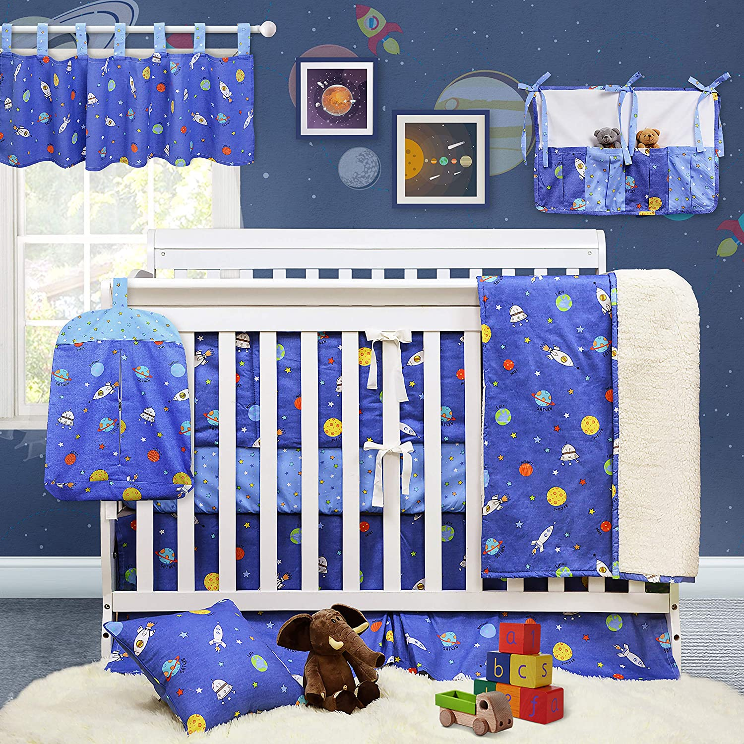 Brandream Crib Bedding Sets for Boys Outer Space Galaxy Nursery Bedding Blue Baby Boys Bedding with Bumper Pads, 100% Hypoallergenic Soft Cotton, 11 Pieces