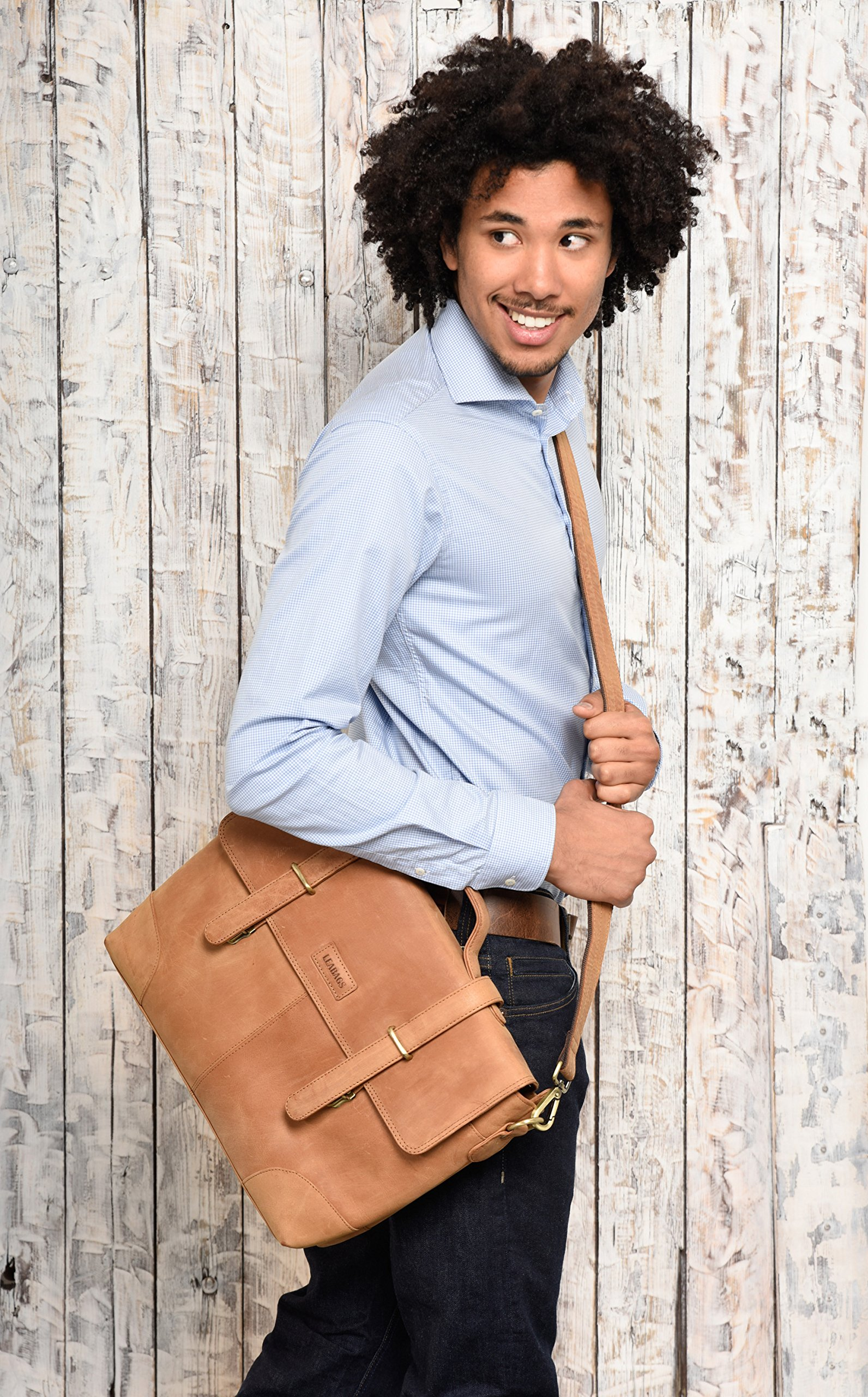 LEABAGS Liverpool genuine buffalo leather briefcase in vintage style - Brown by LEABAGS (Image #8)